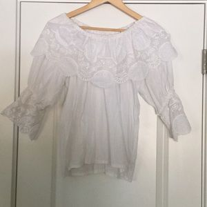 White Cotton Lace Off Shoulder Top
